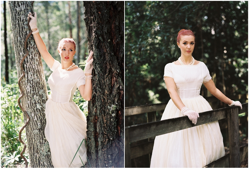 Two shots of bridal gown shot on film